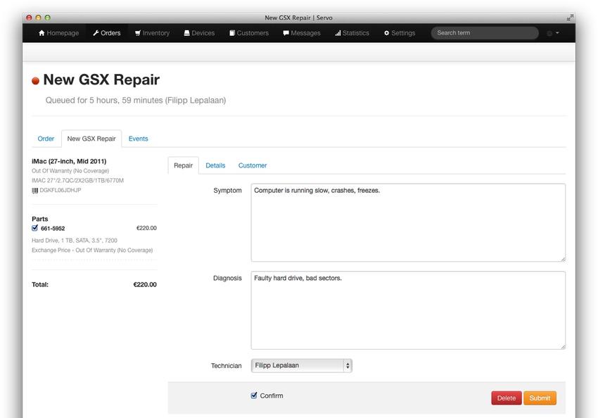 Features | Servo - Service Management for Authorized Apple Service